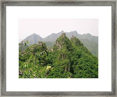 The Great Wall Of China Winding Over Mountains Framed Print
