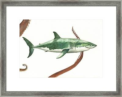 The Great White Shark And The Octopus Framed Print by Juan Bosco