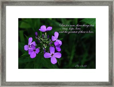 Framed Print featuring the photograph The Greatest Is Love by Tikvah's Hope