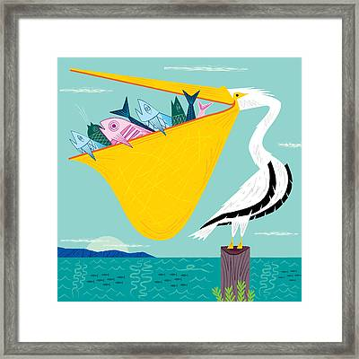 The Greedy Pelican Framed Print