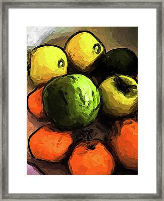 The Green And Gold Apples With The Orange Mandarins Framed Print