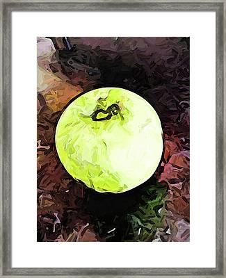 The Green Apple In The Bright Light Framed Print