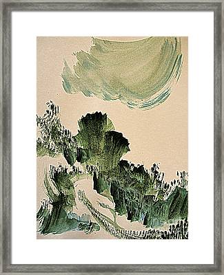 The Green Cliffs With A Cloud Framed Print