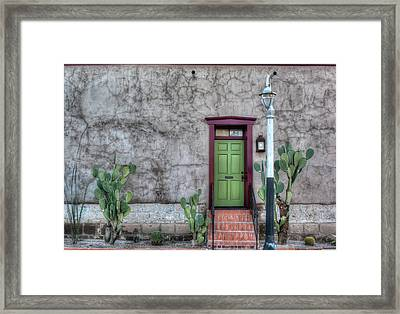 Framed Print featuring the photograph The Green Door by Lynn Geoffroy