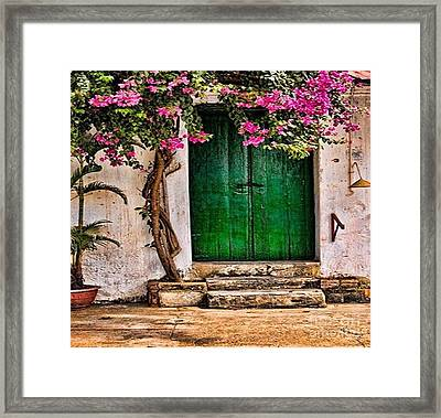 The Green Door Framed Print by Rod Jellison