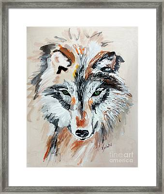 The Green Eyes Wolf  Framed Print by Valentina Miletic