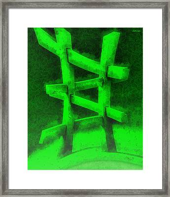 The Green Fence - Da Framed Print