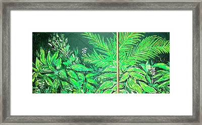 Framed Print featuring the painting The Green Flower Garden by Darren Cannell