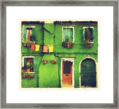 The Rustic Green House Framed Print by BONB Creative