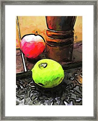 The Green Lime And The Apple With The Pepper Mill Framed Print