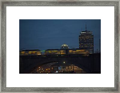 The Green Line Rumbling Past The Pru Closeup Framed Print by Toby McGuire