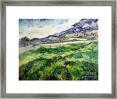 The Green Wheatfield Behind The Asylum Framed Print by Vincent van Gogh