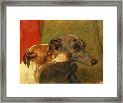 The Greyhounds Charley And Jimmy In An Interior Framed Print by John Frederick Herring Snr