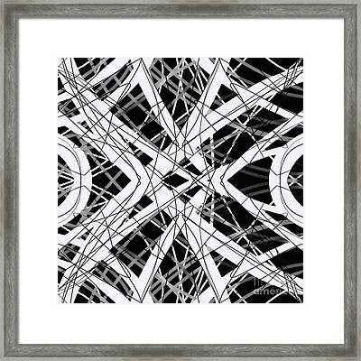 The Grid Black And White Abstract Design Framed Print by Edward Fielding