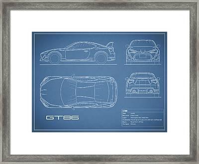 The Gt86 Blueprint Framed Print by Mark Rogan