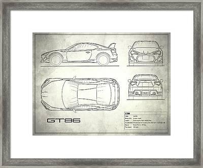 The Gt86 Blueprint - White Framed Print by Mark Rogan