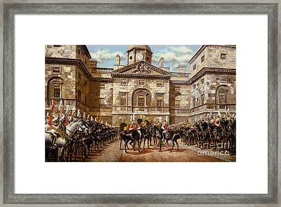 The Guard Mounting  The Horse Guards At Whitehall  Framed Print by Harry Payne and Arthur Charles