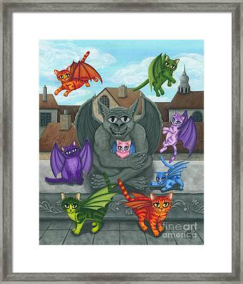 Framed Print featuring the painting The Guardian Gargoyle Aka The Kitten Sitter by Carrie Hawks