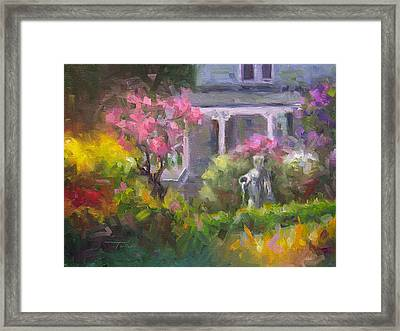 Framed Print featuring the painting The Guardian - Plein Air Lilac Garden by Talya Johnson