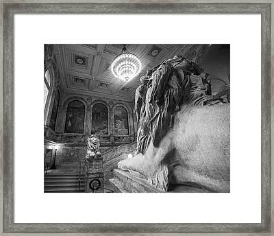 The Guardians Boston Public Library Lion Statues Black And White Framed Print