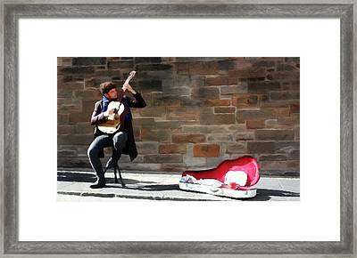 Framed Print featuring the painting The Guitarist by David Dehner