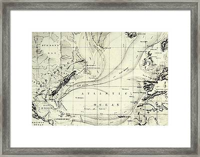 The Gulf Stream Of The Atlantic Ocean Framed Print by  Elisee Reclus