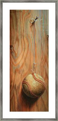 The Hanging Baseball Framed Print