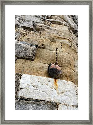 The Hanging Jar - Rough Weathered Stones Rust And Ceramics - A Vertical View Framed Print by Georgia Mizuleva