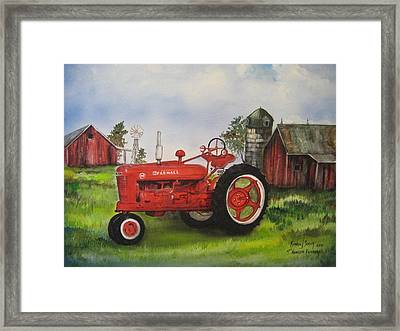 The Hansen Tractor Framed Print by Kendra Sorum