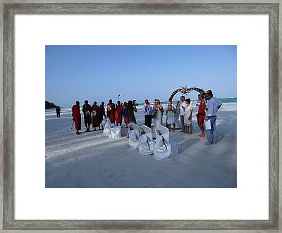 The Happy Couple - Married On The Beach Framed Print