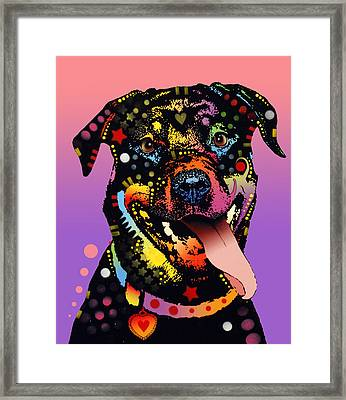 The Happy Rottie Framed Print by Dean Russo