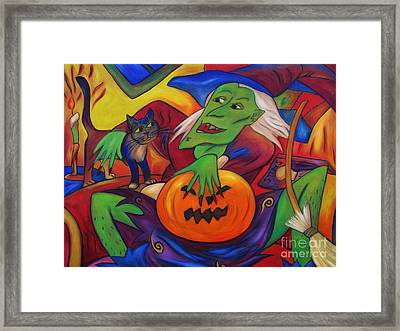 Framed Print featuring the painting The Happy Witch Cat And Pumpkin by Dianne  Connolly
