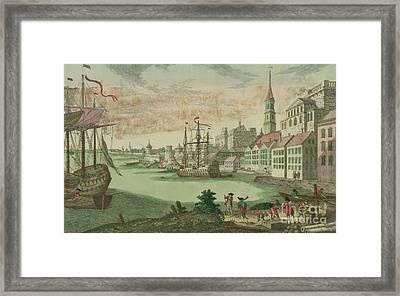 The Harbor In Boston, Massachusetts, 1770  Framed Print