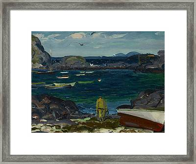 The Harbor, Monhegan Coast, Maine Framed Print by George Bellows