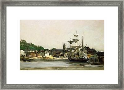 The Harbour At Honfleur Framed Print by Karl Pierre Daubigny