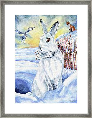 The Hare Fear Creativity And Rebirth Framed Print by Antony Galbraith