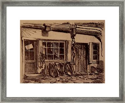 The Harness Shop Framed Print by Chris  Riley