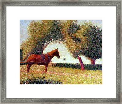 The Harnessed Horse Framed Print by Georges Pierre Seurat