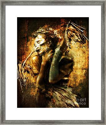 Framed Print featuring the digital art The Harpy by Nada Meeks