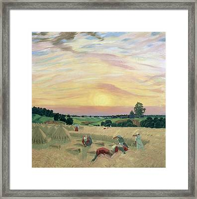 The Harvest Framed Print by Boris Mikhailovich Kustodiev