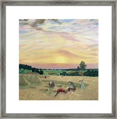 The Harvest Framed Print by Boris Mikhailovich Kustodiev