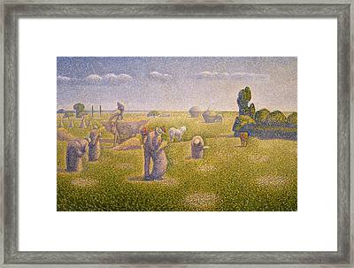 The Harvesters Framed Print by Charles Angrand