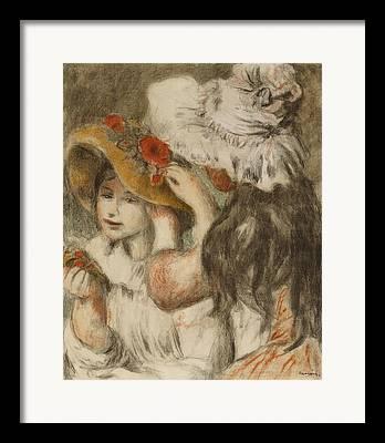 Little Girl Portrait With White Hat Framed Prints