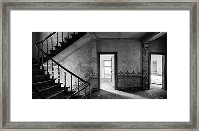 The Haunted Staircase - Abandoned Building Bw Framed Print