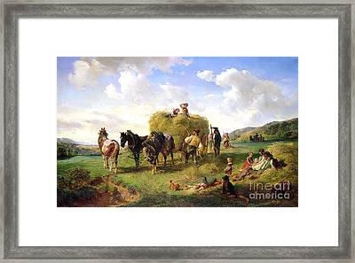 The Hay Harvest Framed Print by Hermann Kauffmann