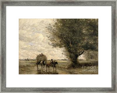 The Haycart Framed Print by Jean Baptiste Camille Corot