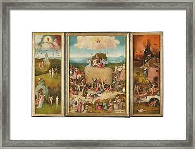 The Haywain Triptych Framed Print by Bosch Hieronymus