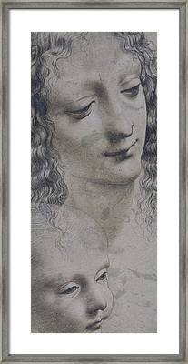 The Head Of A Woman And The Head Of A Baby Framed Print by Leonardo Da Vinci