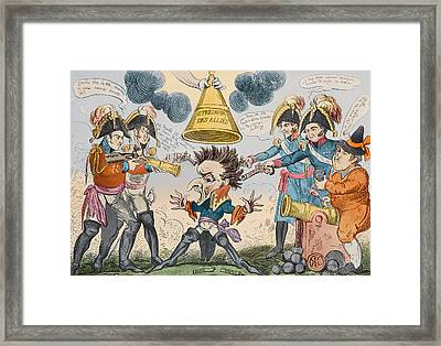 The Head Of The Great Nation In A Queer Situation Framed Print by George Cruikshank