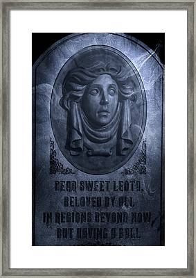 The Headstone Of Madame Leota Framed Print by Mark Andrew Thomas